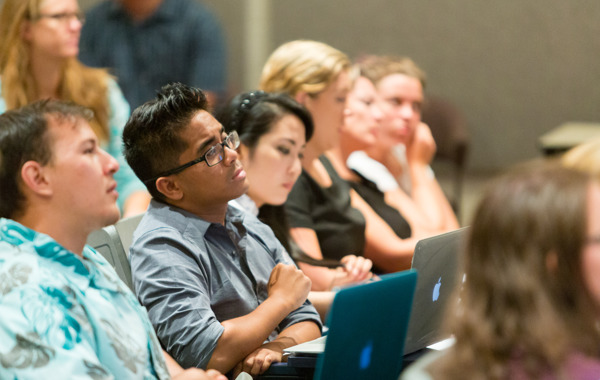 Students in the audience at one of our annual Will Weinstein Conversation Series events.