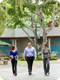 Shidler students walking in our courtyard