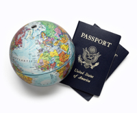 Globe and passport