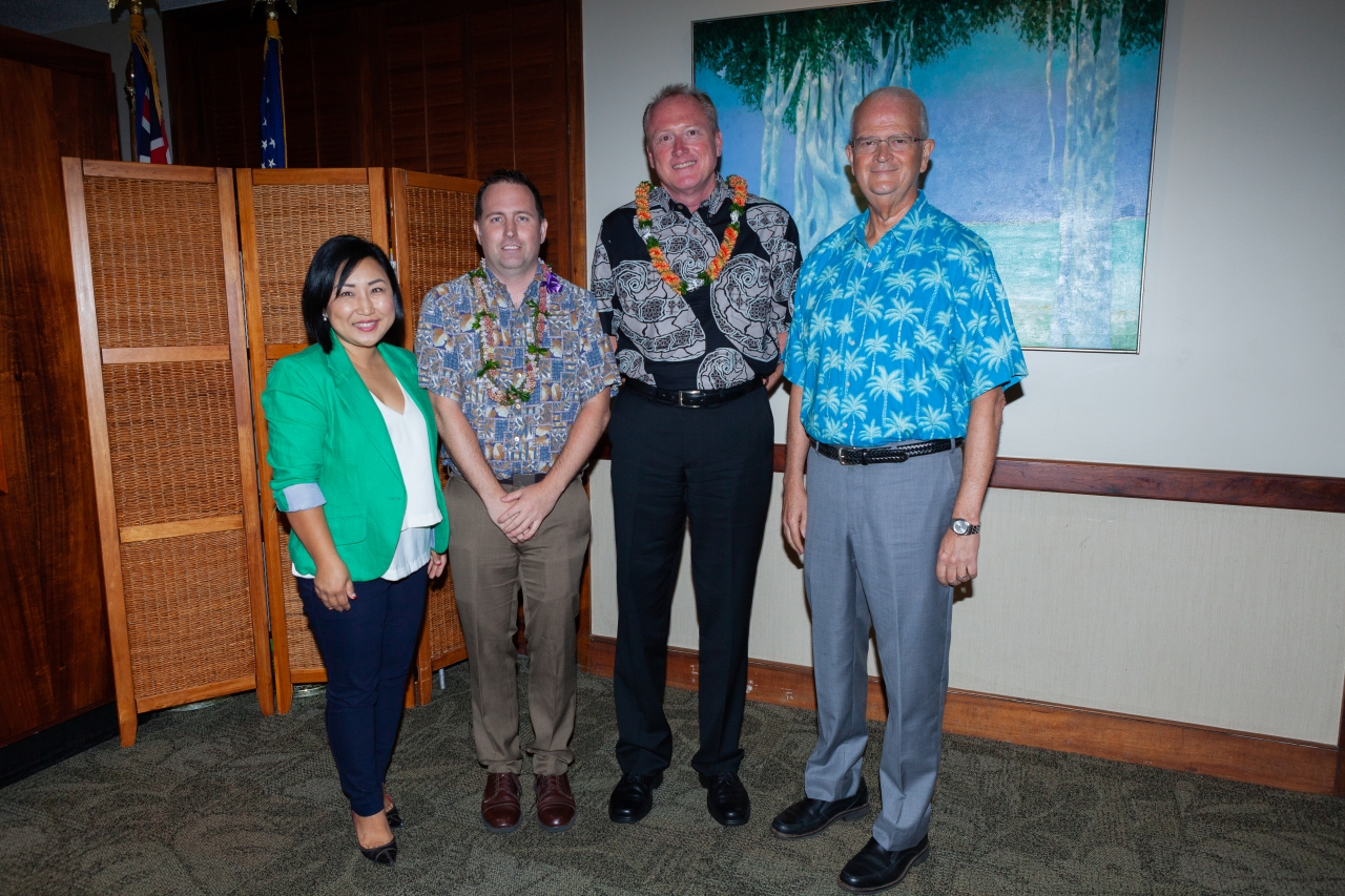 From left: Unyong Nakata, executive director of development, Shidler; Randy Minas, associate professor of ITM; Jeffrey Shonka, president and CEO, First Insurance Company of Hawaii; and Vance Roley, dean, Shidler College.